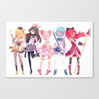 madoka magica Canvas Prints featuring Madoka by sarlisart