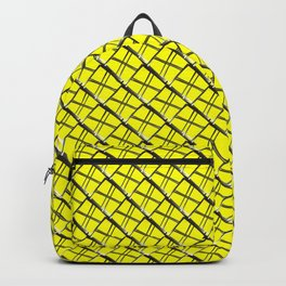 Vintage square tile made of yellow rhombuses with white gaps. Backpack