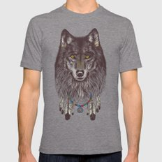Wind Catcher Wolf LARGE Tri-Grey Mens Fitted Tee