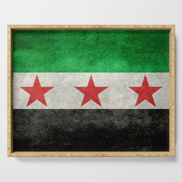 Syrian independence flag, grungy Serving Tray
