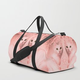 """""""Pink Pastel Doppelganger Cats at the Garden"""" Duffle Bag"""