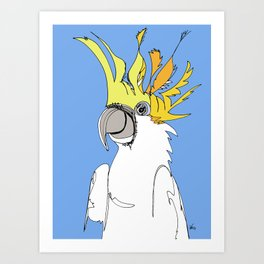 Yellow Crested Cockatoo in blue Art Print