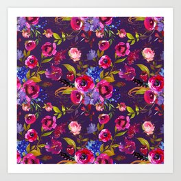 Bright Pink, Purple and Lavender Floral Arrangement with Feathers on Purple Art Print