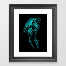 Woman Nude - Black and Green Design Framed Art Print