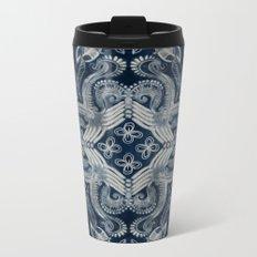 Indigo blue dirty denim textured boho pattern Metal Travel Mug