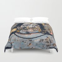 hindu Duvet Covers featuring Hindu mural by Rick Onorato