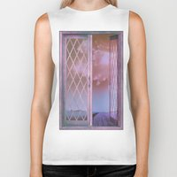shabby chic Biker Tanks featuring Lavender Fields in Window Shabby Chic original art by Glimmersmith