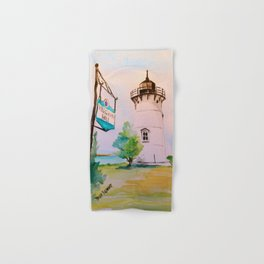 East Chop (Telegraph Hill) Lighthouse Martha's Vineyard Watercolor Hand & Bath Towel
