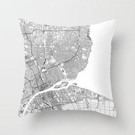 Detroit White Map Throw Pillow