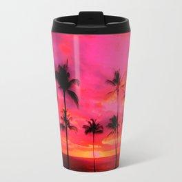 tropical pink, palm trees at sunset sundown,,,house of harlequin Travel Mug