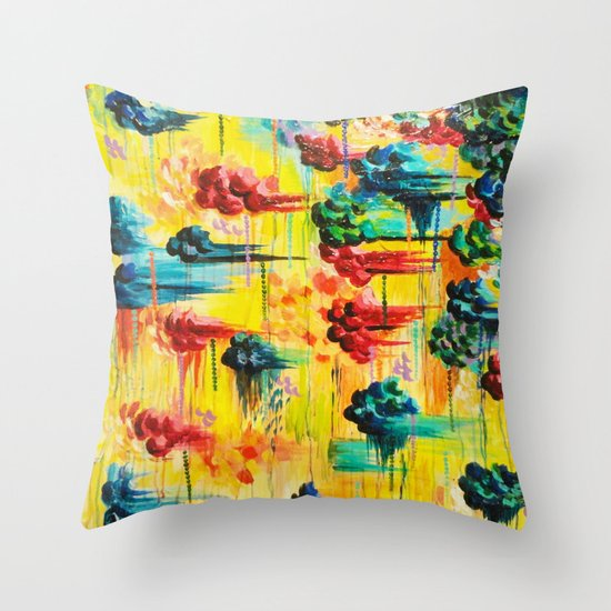 HERE COMES THE RAIN - Abstract Acrylic Painting Rain Storm Clouds Colorful Rainbow Modern Impasto Throw Pillow