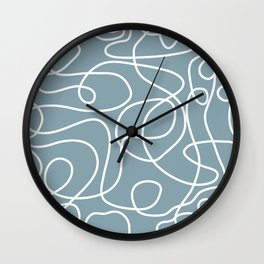 Doodle Line Art | White Lines on Dusty Blue Wall Clock
