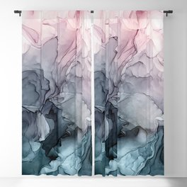 Blush and Payne's Grey Flowing Abstract Painting Blackout Curtain