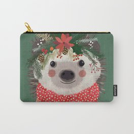 Hedgehog with Christmas Flowers Carry-All Pouch