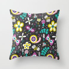 Happy Critters Black Throw Pillow