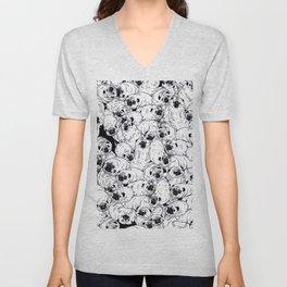 Black & White pugs Unisex V-Neck