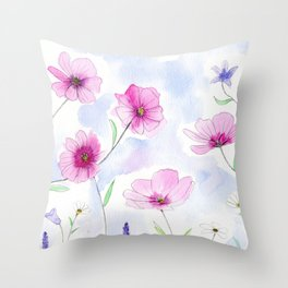 flower illustration with watercolor and pencil Throw Pillow