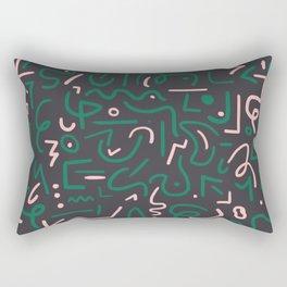 Green and pink doodles Rectangular Pillow