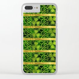 Irish Shamrock -Clover Gold and Green pattern Clear iPhone Case