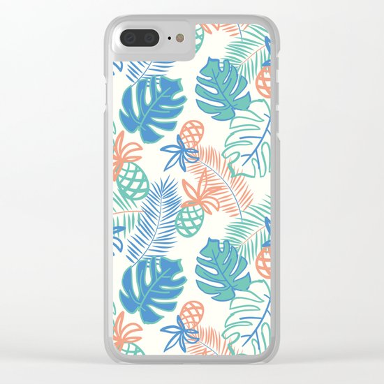 Pineapple pattern. Tropical foliage Clear iPhone Case