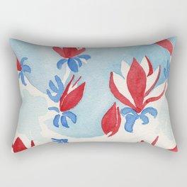 Magnolias in red Rectangular Pillow