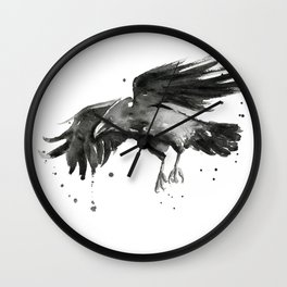 Raven Watercolor Wall Clock