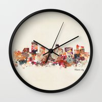 new jersey Wall Clocks featuring atlantic city new jersey by bri.buckley