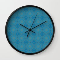 coasters Wall Clocks featuring Gold Lace on Blue by Lena Photo Art
