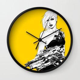 Badass girl with gun in comic pop art style Wall Clock