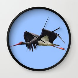 A Black Stork Wall Clock