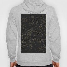 Gold foil floral pattern and geometric triangles on grey Hoody