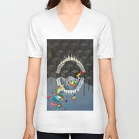teeth V-neck T-shirts featuring Teeth by VikaValter
