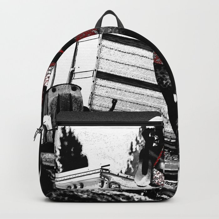 Ornamental Pinup in Black, White, and Red Backpack
