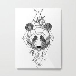 Geometrical Panda with Morse Code Metal Print