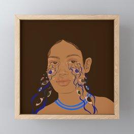 Psychedelic blue eyes  Framed Mini Art Print