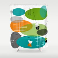 mid century modern Shower Curtains featuring Mid-Century Modern Atomic Ovals by Kippygirl