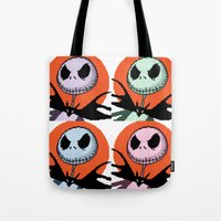 jack skellington Tote Bags featuring Jack Skellington Pixel Art by Katersbonneville