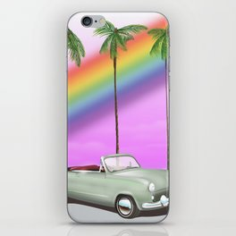 Vintage Car and rainbow, iPhone Skin