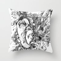 panic at the disco Throw Pillows featuring panic by Maethawee Chiraphong