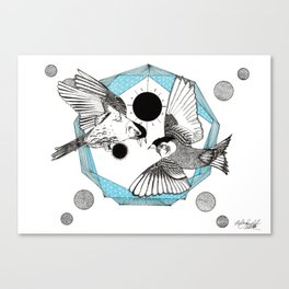 The Birds and the Prism - Ink artwork Canvas Print