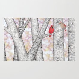 cardinals and birch trees Rug