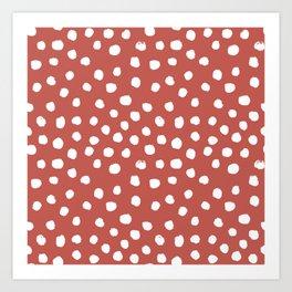 Painted Dots - brick red, rust, orange, fall, autumn, decor, fall decor, dorm decor, dot Art Print