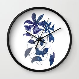 Watercolor Indigo Clematis Vine Wall Clock