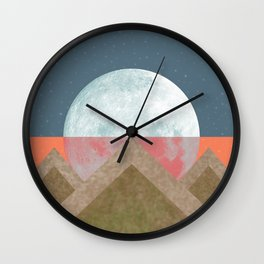 MOON BEHIND THE MOUNTAINS Wall Clock