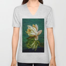 Water Lily after rain Unisex V-Neck