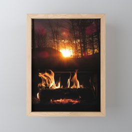 Flames Dancing With The Wood Arise From The Sun Or Fireplace Framed Mini Art Print