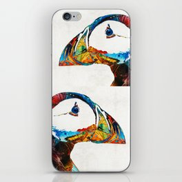 Colorful Puffin Art By Sharon Cummings iPhone Skin