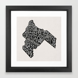 Salem County, New Jersey Map Framed Art Print