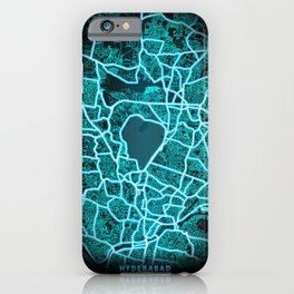 Hyderabad, India, Blue, White, Neon, Glow, City, Map iPhone Case