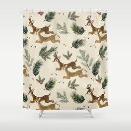 winter deer // repeat pattern Shower Curtain